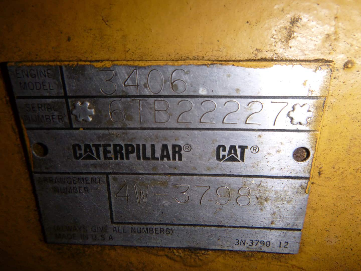 caterpillar diesel engine serial plate